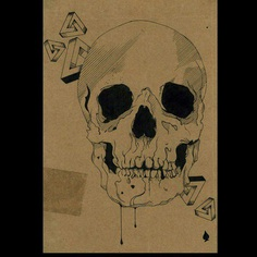One of my first cardboard sketches #illustration #cardboard #sketches #sketch #skull #impossibletriangle #drool