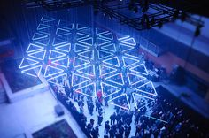 tetro presents grid a suspended kinetic light installation in lyon #lights