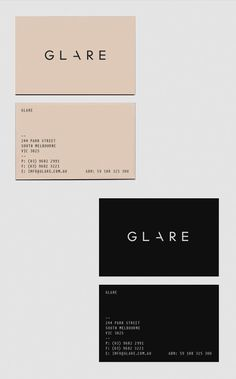 GLARE #business #branding #print #logo #cards