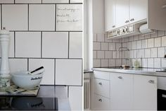 White square tiles. Brick pattern. Graphite Grout #tiles