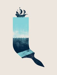Drift by Paul Tebbott #blue #illustration #boat #brush