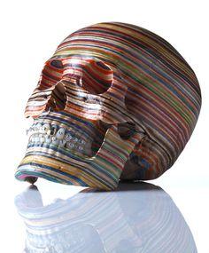 A Skull Made from Repurposed Skateboard Decks by Haroshi #skateboard #skull #decks #skulls