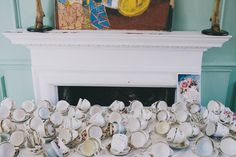 Eclectic East End Wedding Tea Party: Cassandra & Howard · Rock n Roll Bride #cups #arrangement #ceramics #turned #tea #party
