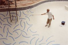 David Hockney painting his pool #pool #photography #art