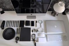 Things Organized Neatly #macbook #apple #desktop #pens #office #photography #imac #organized