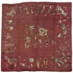 Wall hanging made from purple grundiger silk embroidery, with a representation of children at play