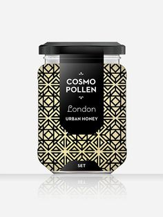 Cosmopollen Urban Honey (London) - Louise Twizell #branding #uk #packaging #food #jar #honey #abstract #louise #white #pattern #label #brand #architecture #england #simplistic #london #package #black #simple #labelling #taste #europe #twizell