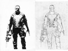 Comic Art For Sale from Splash Page Comic Art, Punisher Warzone Teaser Poster by Comic Artist(s) Tim Bradstreet #punisher #ink #white #black #illustration