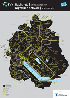 ZVV Nighttime Network Map - Fonts In Use