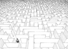 black and white sky #perspective #maze #drawing #complex