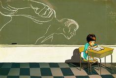 School Bully | Christina Ung #design #graphic #illustration #art #editorial #green