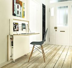 Flatmate Desk saves space by letting you fold it away when you're done! #furniture #product design #home