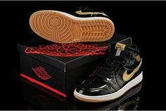 "Nike Jordan 1 Retro High Sneakers Mens Black and White - ""Metallic Gold"" #shoes"