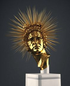 Hedi Xandt - Gold Sculpture #spikes #sculpture #design #head #bust #statue #portrait #star #gold #explode #beauty