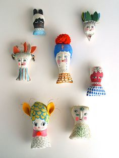 Miniature folk doll hand painted display art doll #toys #painted #faces #heads #portraits #hand #characters