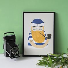 #nordic #design #graphic #illustration #danish #beard #simple #nordicliving #living #interior #kids #room #poster #sailor #maritime #stripes