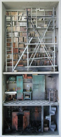 CJWHO ™ (Miniature libraries of Marc Giai Miniet | via ...) #crafts #design #books #crazy #art #library #miniature