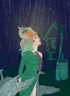 Baba Yaga #folklore #poland #bird #night #digital #witch #wood #art #flower #ukraine #dark