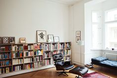 Freunde von Freunden — Silke Neumann — Agency owner, Apartment, Berlin-Moabit — http://www.freundevonfreunden.com/interviews/silke-neu #interior #chair #design #living #home #ottoman #furniture #vitra #room #eames
