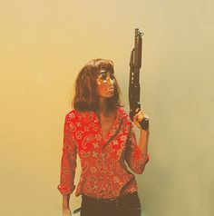 Image of Tash 1 #woman #gun #book #pulp #mask #art #shotgun