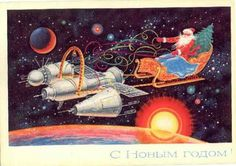 #rocket #science-fiction #santa #christmas #postcard