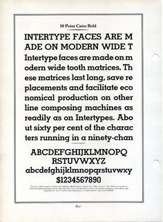 This type specimen shows Interype's Cairo. Cairo is a knockoff of Memphis, a Rudolf Wolf typeface released by Stempel in 1929. #type #specimen #typography