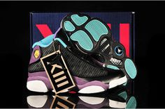 "Heads Up: Black/""Atomic Teal"" & ""Grape White"" New Style Women Sports Sneakers - Nike Jordan 13 #shoes"
