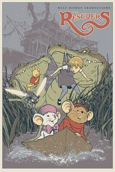 Reinvented Disney posters by Mondo/The Rescuers