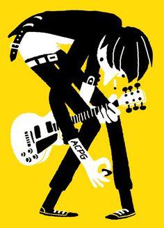 guitar music illustration poster