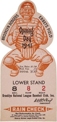 OPENING DAY 1941 DIE CUT BASEBALL TICKET