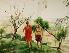 Adam de Boer - Adri and Cata on the Hill #painting #art