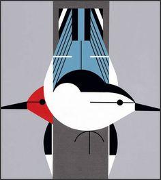 Upside Downside lithograph print by Charley Harper #charley #print #giclee #harper
