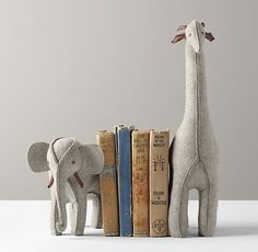 Wool Felt Animal Bookend Set of 2 | Accessories | Restoration Hardware Baby #anima #rabbit #giraffe #book