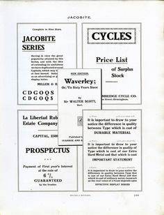Vintage type specimen of the Jacobite font from Miller & Richard.