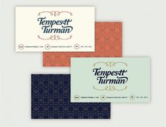 Tempestt - details #business #card #orange #vintage #type #blue