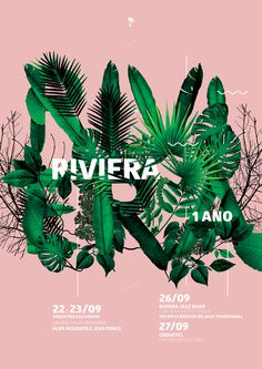 Riviera Poster #riviera #tropical #brazil #leaf #botanic #type #typography