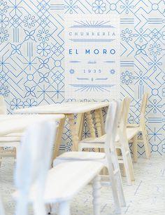 El Moro branding #pattern #blue #white #tiles