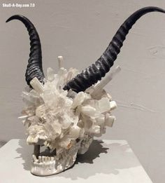 Skull-A-Day #sculpture #devil #horn #art #skull