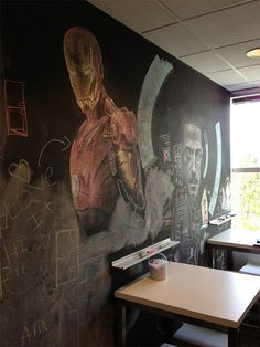 CJWHO ™ (Incredible Iron Man Chalkboard Art Spotted in the...) #breakroom #tony #design #stark #iron #chalkboard #illustration #art #film #marvel #man #comics