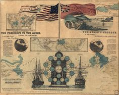 Vintage Infographic Map of Telegraphy #revolution #color #map
