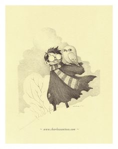 harry_hedwig_charlessantoso_02.jpg (633×802) #illustration #pencil #owl #potter