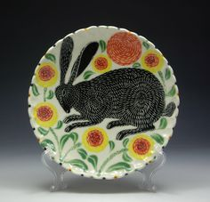 short stack | suetirrellceramics #plate #sculpture #pattern #ceramics #design #hare #art #rabbit #beauty