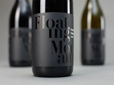 Wine Label: black foil onto black printed paper. #zealand #mountain #new #waipara #packaging #black #label #wine #floating #foil #typography
