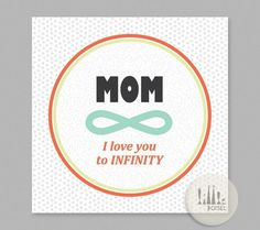 Mother's Day Card I love you to INFINITY by littlejoisel on Etsy #mom #card #infinity