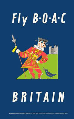 Britain, airline, poster, illustration