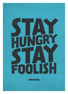 Steve Jobs Quote wall decor Stay Hungry, Stay Foolish Retro style typography poster A3