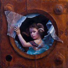 """Marina Dieul - Bacchante. Oil on panel. 32""""x32"""" #artwork #children #oil"""