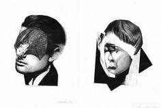 The Fox Is Black #bw #ei #kaneko #white #black #illustration #portrait #hawk #animal