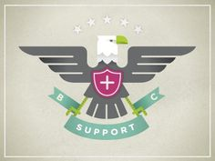 Dribbble - Big Cartel Support Troops by Dan Christofferson #eagle #banner #color #crest