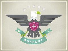 Dribbble - Big Cartel Support Troops by Dan Christofferson #eagle #banner #color #crest